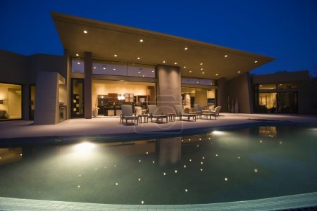 Swimming pool and house exterior