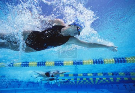 female swimmers racing in swimming pool