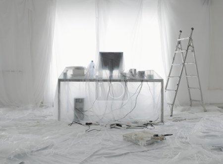 Flat white painting