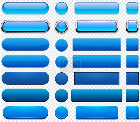 Illustration for Set of blank blue buttons for website or app. Vector eps10. - Royalty Free Image