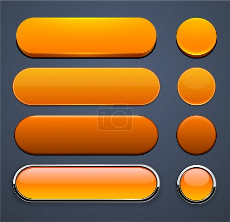 Illustration for Set of blank orange buttons for website or app. Vector eps10. - Royalty Free Image