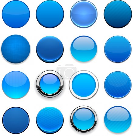 Illustration for Set of blank blue round buttons for website or app. Vector eps10. - Royalty Free Image