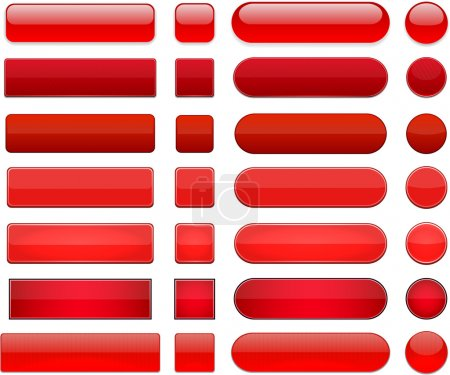 Illustration for Set of blank red buttons for website or app. Vector eps10. - Royalty Free Image