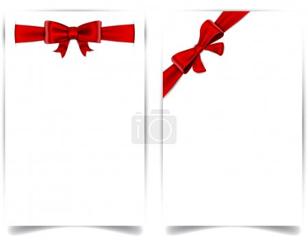 Illustration for Blank paper background with red bow. Vector eps10. - Royalty Free Image