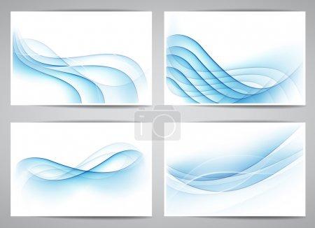 Illustration pour Ensemble vectoriel de bannières abstraites bleu fumée. Eps10 . - image libre de droit