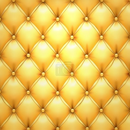 Illustration for Vector illustration of golden realistic upholstery leather pattern background. Eps10. - Royalty Free Image