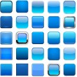 Set of blank blue square buttons for website or ap...