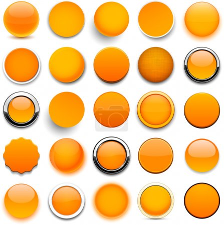 Illustration for Set of blank orange round buttons for website or app. Vector eps10. - Royalty Free Image