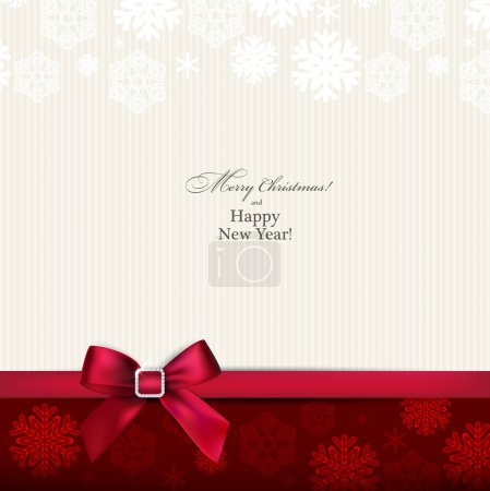 Illustration for Christmas paper background with red bow. Vector eps10. - Royalty Free Image