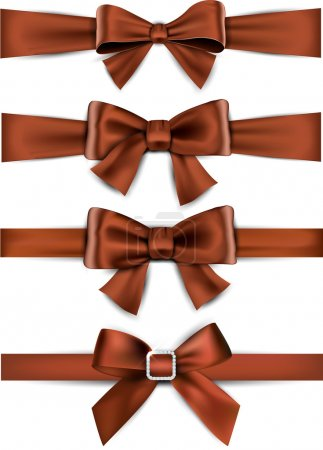 Illustration for Set of brown satin bows. Vector ribbons for gift. - Royalty Free Image