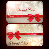 Sale cards with red gift bows.