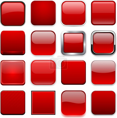 Illustration for Set of blank red square buttons for website or app. Vector eps10. - Royalty Free Image