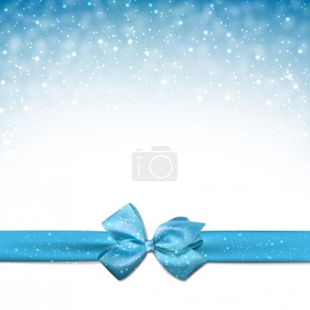 Illustration for Winter blue background with crystallic snowflakes with ribbon and gift bow. Christmas decoration. Vector. - Royalty Free Image