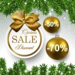 Sale golden round labels. Christmas balls over sta...