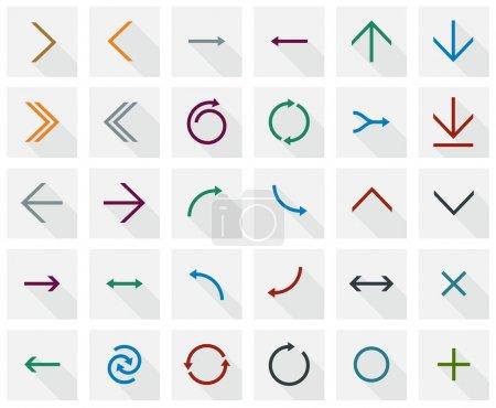 Illustration pour Illustration vectorielle des icônes de flèches carrées. Conception plate . - image libre de droit