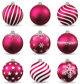 Set of realistic magenta christmas balls