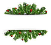Christmas background with fir twigs and red balls Vector illustration