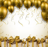Celebration golden background with balloons and confetti