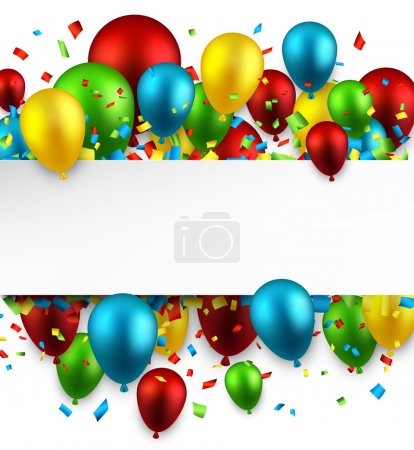 Illustration for Celebration colorful background with balloons and confetti. Vector illustration. - Royalty Free Image