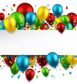 Celebration colorful background with balloons and confetti Vector illustration