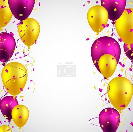 Illustration pour Fond de célébration avec des ballons colorés et des confettis. Illustration vectorielle . - image libre de droit