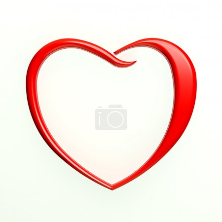 Red Heart Outlined in White Background