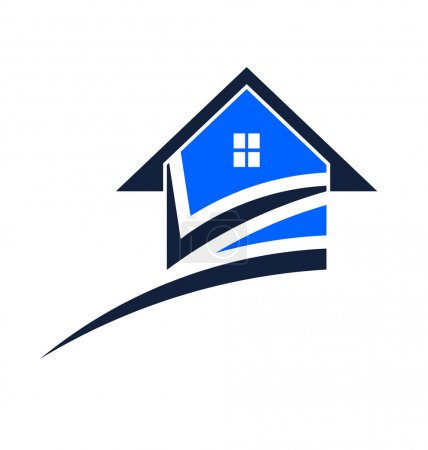 Illustration for House swoosh with check mark - Royalty Free Image