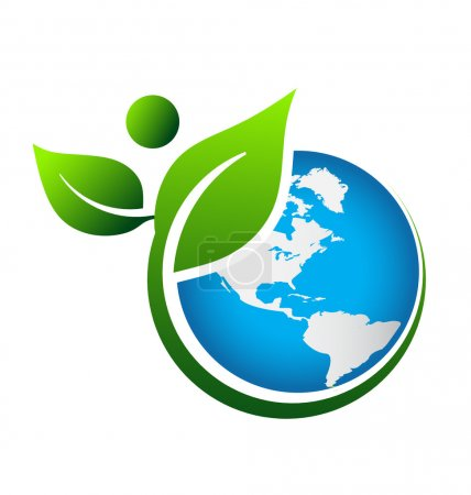 Illustration for Earth and swoosh plant around it - Royalty Free Image