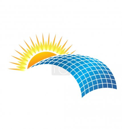 Illustration for Sun in horizon over solar cell - Royalty Free Image