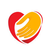 Hand holding heart symbol swoosh