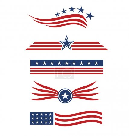 USA star flag design elements