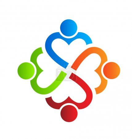 Team Heart 4 design logo element Vector