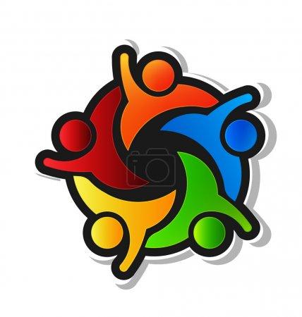 Illustration for Team Hi5 with black background Logo - Royalty Free Image