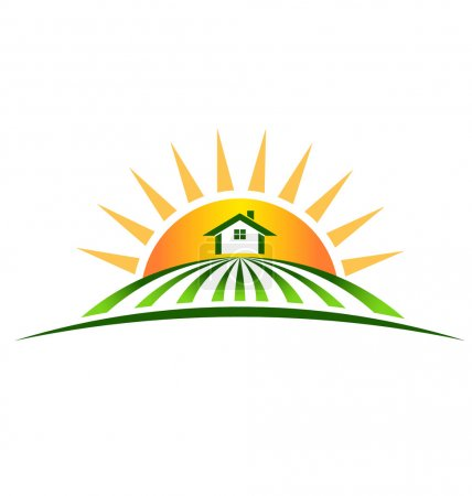 Illustration for Logo Farm House with sun - Royalty Free Image