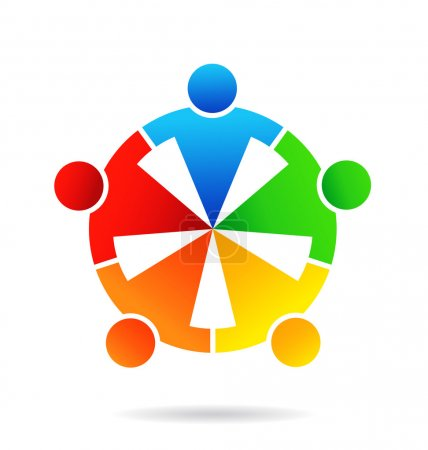 Illustration for People teamwork vector business group round together - Royalty Free Image