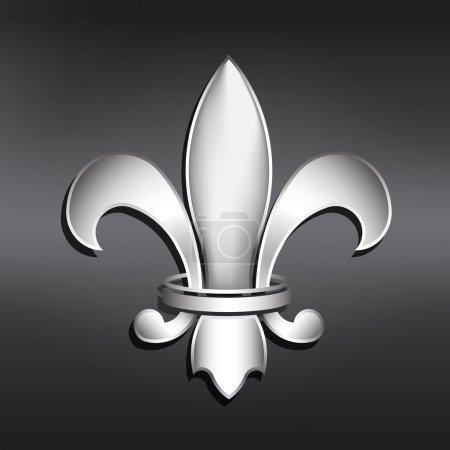 Vector Fleur de Lis. Silver style