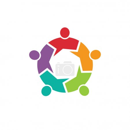 Teamwork Call out 5 people image. Concept of information, info graphic, community