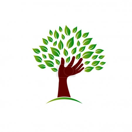 Illustration for Hand on ecology awareness image. Concept of tree hand, environment safe, plant a tree. Vector image - Royalty Free Image