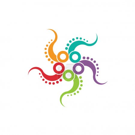 Octopus image. Concept of multitasking a stylized octopus in a nice color scheme