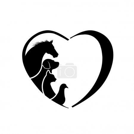Illustration for Veterinarian Heart Horse love. Abstraction of animal care - Royalty Free Image