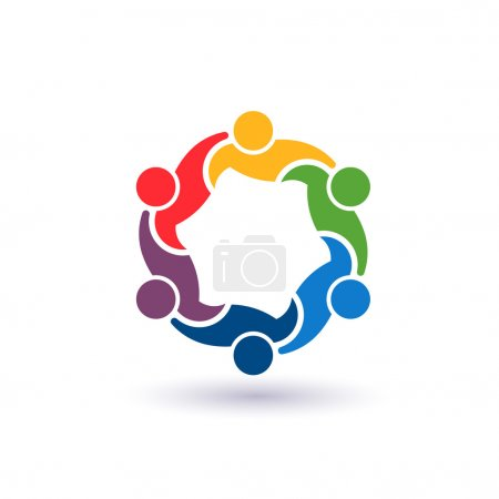 Illustration for Teaming 6.Concept group of connected people , happy friends, helping each other.Vector icon - Royalty Free Image