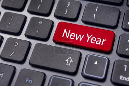 Photo of close up on keyboard pad, for new year gr...