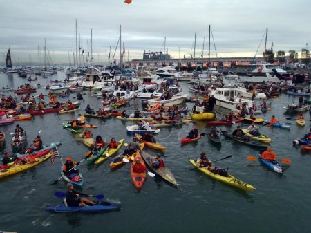 McCovey Cove filled with boats, kayaks and hoping for a h