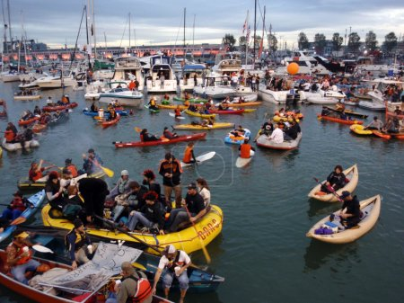 McCovey Cove filled with kayaks, boats, and having fun