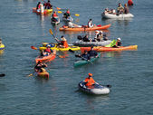 Kayakers, and boaters paddle in McCovey Cove hoping for a homeru