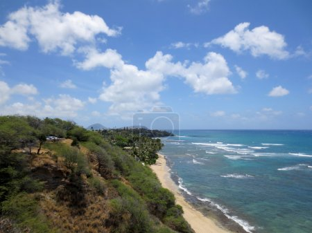 Diamond Head Beach, Black Point, and Koko Head Crater in the dis