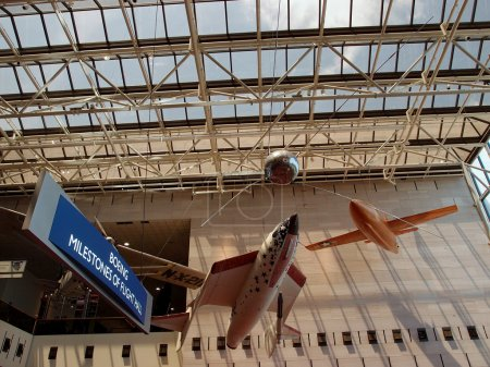 Aircrafts hang in the air at the National Air and Space museum i
