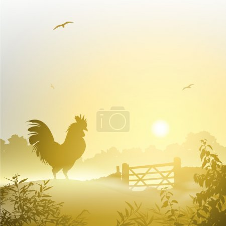 Illustration for A Misty Morning Landscape with Cockerel, Rooster - Royalty Free Image
