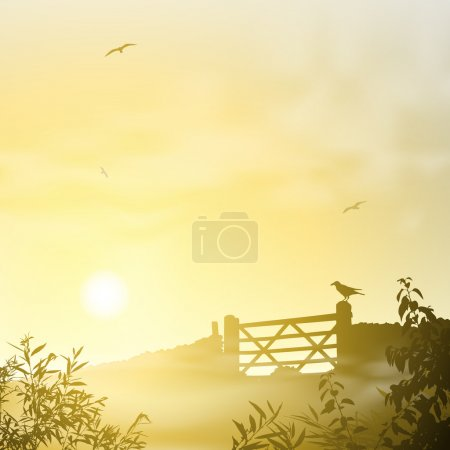 Illustration for A Misty Landscape with Sunrise, Sunset - Royalty Free Image