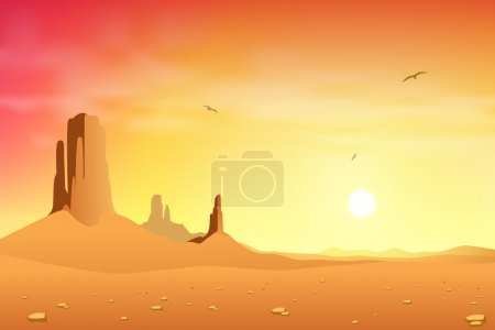 A Desert Landscape with Mountains and Sunset, Sunr...